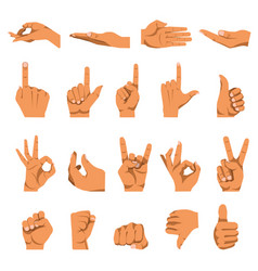 hand and finger gestures flat isolated vector image vector image