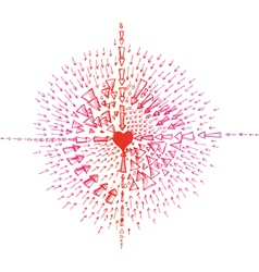 Heart doodle with arrows vector image