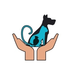 Isolated dog cat and bird over hands design vector