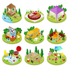 Isometric bbq picnic summer camp people park vector
