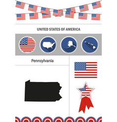 Map of pennsylvania set of flat design icons vector
