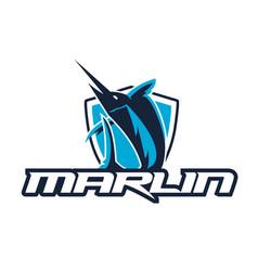 Marlin sport logo with shield vector
