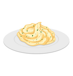 Mash potato on round plate vector