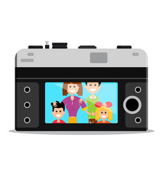 old style retro camera back with happy famil vector image