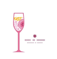Pink field flowers wine glass silhouette pattern vector