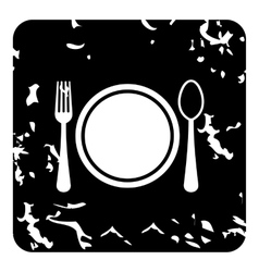 Plate with spoon and fork icon grunge style vector