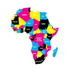 Political map of africa continent in cmyk colors vector