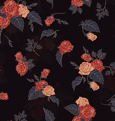 Seamless floral pattern with outline roses vector