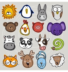 set of hand drawn funny doodle animals sketch vector image vector image
