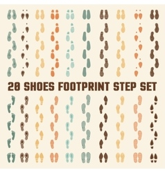 Shoes footprints colorful tracks set vector