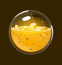 Sphere of gold game icon of magic orb interface vector