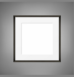 square blank picture frame on grey wall vector image