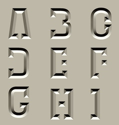 Stone carved alphabet font - part 1 vector