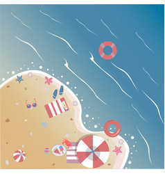 Summer seashore with summer beach objects from vector