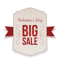 Valentines day big sale banner and red ribbon vector