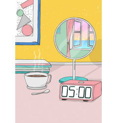 Wake up early colorful hand drawn vector