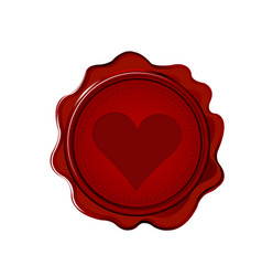 Wax seal with heart vector