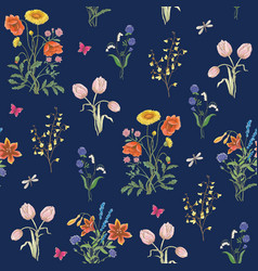 Wildflowers background vector