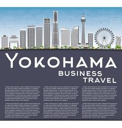 Yokohama skyline with gray buildings blue sky vector