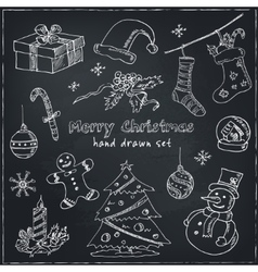 Doodle Christmas elements Vintage for vector image