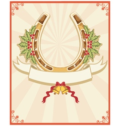 Horseshoe on christmas background with holly berry vector