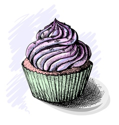 Hand drawn of tasty cupcake sketch vector
