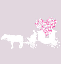 wedding card with vintage carriage vector image