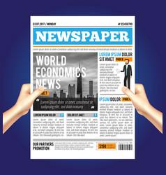 World economic newspaper composition vector