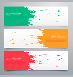 Abstract ink splatter banners set background vector