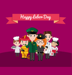 happy labor day greeting card with children vector image