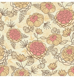 Vintage brown pink flowers seamless pattern vector image