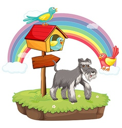 Dog and birdhouse vector