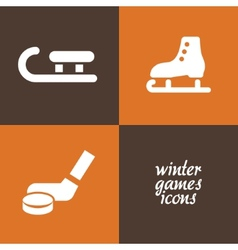 Winter game icons vector