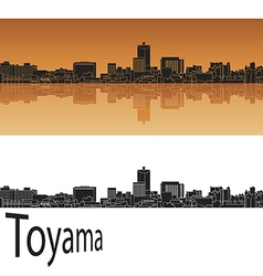 Toyama skyline in orange vector