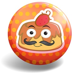 Custard cake on round badge vector image