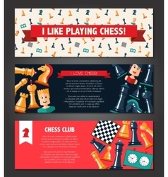 Banners set with flat design chess and players vector