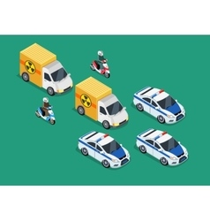 Police motorcade car important toxic load vector