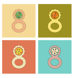 Assembly flat icons kids toy rattle vector