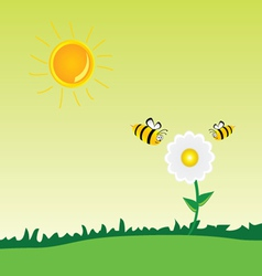 bee with flower art vector image vector image