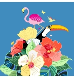 Bird of paradise and plants vector