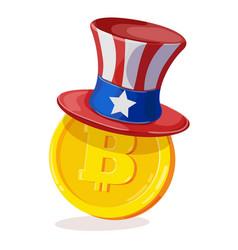 bitcoin in american hat vector image vector image