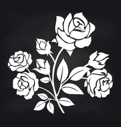 Bush of roses flowers on chalkboard vector
