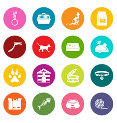 Cat care tools icons many colors set vector