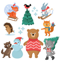 Christmas and winter holiday funny animals vector