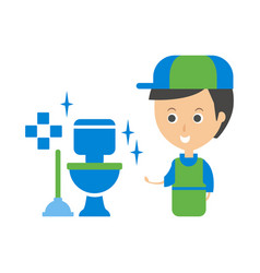 cleanup service worker and clean toilet cleaning vector image vector image