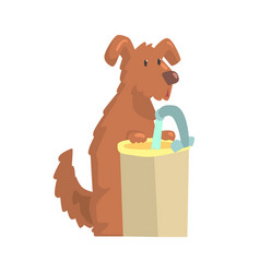 cute cartoon dog standing next to a sink with vector image