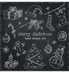 Doodle Christmas elements Vintage for vector image