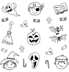 Doodle of cute face halloween vector
