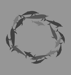 Flat icon on theme save whales circle of dolphins vector