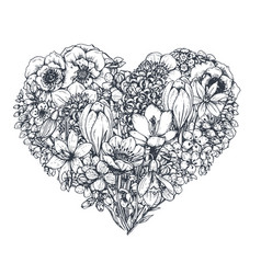 floral heart bouquet with hand drawn spring vector image vector image